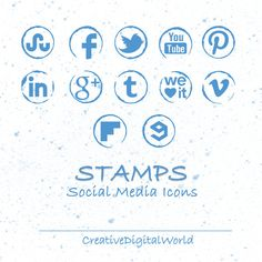 Blue Stamps Social Media Icons  Instant by CreativeDigitalWorld