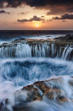 Gran Canaria, The Canary Islands, Spain, waterfall, hole