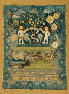 Rare needlework sampler: adam and eve in paradice, Lydia Hart Boston, 1744 Inscribed recto, silk thread: Adam and Eve [n Paradice That Was T. Embroidery Sampler, Cross Stitch Samplers, Rug Hooking, Textile Art, Fiber Art, Needlepoint, Folk Art, Modern Art, Needlework