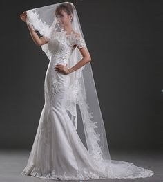 d90036ed71 2016 Nice White Ivory Wedding Veil Real Photos Mantilla velos de novia with  Beautiful Appliques Long Wedding Accessories-in Bridal Veils from Weddings  ...