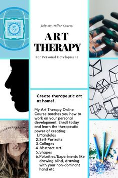 30 Art Therapy Exercises - Join my Art Therapy Online Course on Udemy to learn how to work on your personal development. Art c - Art Therapy Courses, Art Courses, Online Courses, Counseling Activities, Art Therapy Activities, Art Therapy Projects, Therapy Ideas, Creative Arts Therapy, How To Get Better