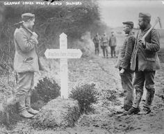 WW1. A German cross over the grave of a French soldier