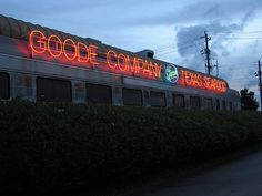 Have GREAT fresh seafood in a restored rail car at Goode Company Seafood... it just might be the best place for seafood in Houston. Or, in the same block, over around Kirby and Westpark, you can have Goode Co. Tacos or Goode Co. Barbecue.  It's all Goode.