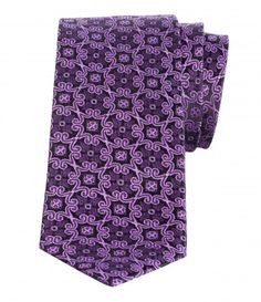 PATTERNED WOVEN SILK TIE  Rejuvenate your office attire with this eye-catching Stanza tie. Crafted from lustrous silk, this version comes in soft tone of purple. It will work well with a wide array of shirts and suits, bringing fresh energy to your outfits.