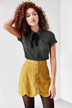A-line button down denim skirt with tights - Google Search