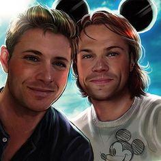 J2 in Disneyland, speed painting in Photoshop CS6 ~ Jensen Ackles & Jared Padalecki #Supernatural #Disney   fan art by petite_madame @ IG