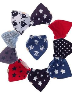 Don't ruin your little man's outfit with a big ugly bib! Bandana bibs are the perfect accessory for the fashion savvy baby and toddler. The front of the bibs are made from 100% cotton using all natura