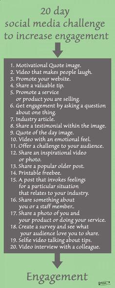 20 day Social Media Challenge to Increase Engagement - Sabrinas Organizing - sabrinasadminserv. 20 day Social Media Challenge to Increase Engagement - Sabrinas Organizing - sabrinasadminserv. Social Media Challenges, Social Media Site, Social Media Content, Social Media Books, Digital Marketing Strategy, Social Media Marketing, Content Marketing, Marketing Ideas, Marketing Guru