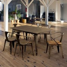 Shop for Furniture of America Tripton Industrial Natural Elm Dining Set. Get free delivery On EVERYTHING* Overstock - Your Online Furniture Shop! Get in rewards with Club O! Table Measurements, Dining Chairs, Dining Table, Kitchen Tables, 7 Piece Dining Set, Table Dimensions, Wood Veneer, Home Decor Items, Chair Design