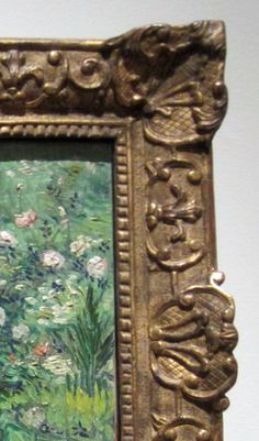 By the early 20th century dealers and collectors started using Louis XIV and XV style frames. Bright gold was deemed incompatible with the Van Gogh colors so most of the gold was rubbed off exposing the gesso below. Then an off white tone was washed over the frame. The practice of using old frames for new paintings was started in the late 19th century. Original frames or carefully crafted, gilded reproductions became the popular choice.