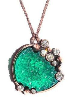 Green Drusy Crystal Necklace Spiked Edgy Statement Pendant Fashion Jewelry