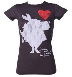Ladies Alice In Wonderland White Rabbit T-Shirt from Junk Food