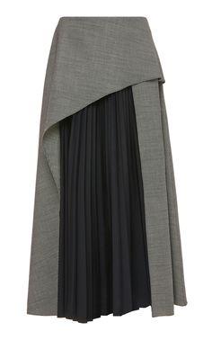 Pleated Panel Wool Skirt by Claudia Li Moda Peru, Hijab Fashion, Fashion Dresses, Modele Hijab, Diy Clothes, Clothes For Women, Denim Skirt Outfits, Wool Skirts, Long Wool Skirt