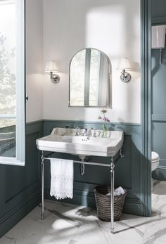 Blue trend. Period bathroom with a luxury freestanding bath from Burlington, now with up to 50% off in our Big Bathroom Brands Sale!
