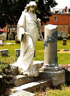 Tombstone of Augusta Bitner 1884 - 1906 in Lancaster Cemetery in Lancaster PA. Augusta died on the eve before her wedding. Her ghost has been reported walking through the cemetery with flowing dress at night.