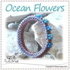 Right Angle Weave Bangle - Ocean Flowers