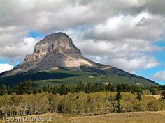 """Crowsnest Mountain, Crowsnest, Alberta. """"Crow"""" mountain is worshipped as a central focus of traditional Blackfoot spirituality."""