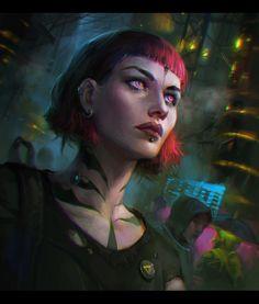 Cyberpunk Girl, Veronika Kozlova on ArtStation at https://www.artstation.com/artwork/dQD43