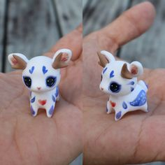 This is a magical little jackalope with watercolour effect painted details. It will come glazed and carefully packaged!  -This little cutie is just over 3x3cm!  ❤❤❤  Follow me on Instagram for news, updates & follower goodies: http://instagram.com/thelittlemew  Have a WONDERFUL day