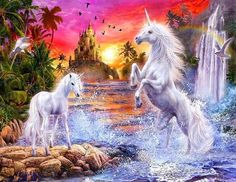 I've always loved pictures like this- water, sunset, unicorn. Perfection.