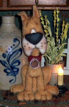 Primitive Puppy Dog Great Dane Doll Pattern