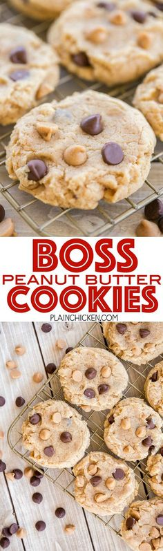 Boss Peanut Butter Cookies - hands down THE BEST peanut butter cookies I've ever eaten! Recipe from The Cake Boss. The secret ingredient makes all the difference!!! Peanut butter, crisco, brown sugar, sweetened condensed milk, vanilla, egg, flour, baking