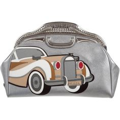Pre-owned Prada Saffiano 50s Car Clutch ($995) ❤ liked on Polyvore featuring bags, handbags, clutches, silver, zipper purse, colorful clutches, preowned handbags, multicolor handbags and multi color purse
