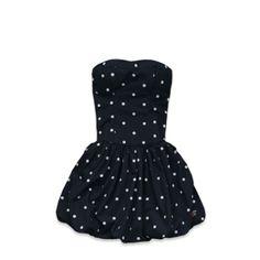 Hollister navy blue polka dot dress
