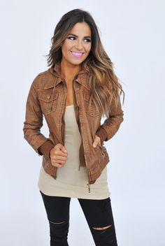 Camel Leather Hooded Jacket - Dottie Couture Boutique