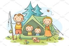 Illustration of Family camping in the woods vector art, clipart and stock vectors. Art Drawings For Kids, Doodle Drawings, Drawing For Kids, Cartoon Drawings, Art For Kids, Camping In The Woods, Family Camping, Camping Cartoon, Camping Drawing