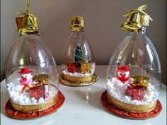 DIY snow globe with recycling – DIY snow globe – DIY Nieve Globe – christmas decorations Christmas Ornaments To Make, Easy Christmas Crafts, Simple Christmas, Christmas Bulbs, Christmas Decorations, Diy Snow Globe, Snow Globes, Jar Crafts, Crafts For Kids