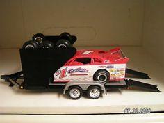 late+model+diecast+cars | Modified Dirt Late Model Race Car Hauler Trailer 1/24 Black 3 Row Tire