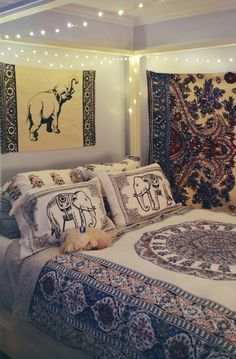 Like the bed frame and lights wrapped around it