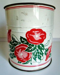 SOLD!!! White and Red Floral VINTAGE Flour Sifter by SoaringHeartVintage, $13.99 www.soaringheartvintage.etsy.com
