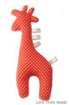 Orange Giraffe Tag Toy---Maybe make some of these for my grandson-to-be???