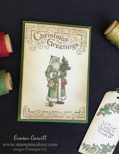 Eimear Carvill www.stampincolour.com Stampin' Creative August Blog Hop Vintage Christmas card using Father Christmas #stampinup #christmascardideas #vintagechristmas