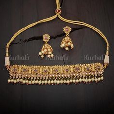 Designer antique necklace studded with synthetic ruby green stones, plated with gold polish, made of copper alloy India Jewelry, Gold Jewelry, Antique Pearl Necklace, Amrapali Jewellery, Necklace Set, Gold Necklace, Rajputi Jewellery, Gold Mangalsutra Designs, Synthetic Ruby