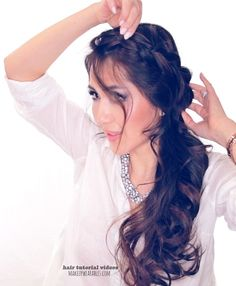 Cute Second Day Hairstyles - How to Crossover Braid Half-Updo Tutorial Second Day Hairstyles, Fancy Hairstyles, Down Hairstyles, Braided Hairstyles, Quince Hairstyles, Amazing Hairstyles, Wedding Hairstyles, Braids For Long Hair, Long Curly Hair