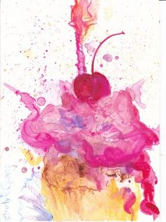 """Would love a watercolor tattoo of a cupcake like this, maybe more blue/purple instead of pinks.   Trudy R. Gomez: """"Birthday Explosion"""" Watercolor Card"""