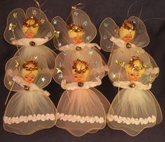 Vintage Tulle Angels Christmas Ornaments Chenille