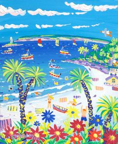 Happy Holidays, Porthminster Beach, St Ives, Cornwall. Original Painting by John Dyer