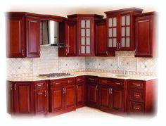 Cherryville Kitchen Cabinets The color! Kitchen Cabinets For Sale, Kitchen Cabinet Styles, Diy Cabinets, Home Decor Kitchen, Rustic Kitchen, Kitchen Interior, Cherry Kitchen, Contemporary Kitchen Design, Kitchen Models