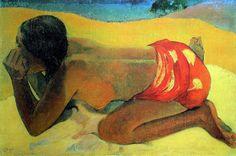 Paul Gauguin - Post Impressionism - Tahiti - Seule                                                                                                                                                                                 Plus