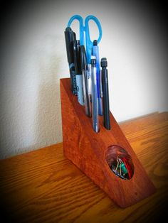 Wooden Pencil Holder/ Desk Organizer by PacificNorthWoods on Etsy Pencil Holder, Desk Organization, Paper Clip, Knife Block, Wood Projects, Organizers, Crafts, Etsy, Home Decor
