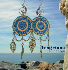 Fascinating Indian Mandalas • unique earrings with free-hand graphics
