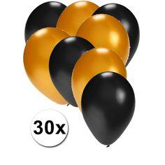 Zwarte en gouden ballonnen 30 stuks  30 stuks ballonnen in de kleuren zwart en goud. Van elke kleur 15 ballonnen leuk voor verjaardagen en themafeesten. Formaat is ongeveer 27 cm. Goede kwaliteit.  Dit artikel bestaat uit: 1x Gouden ballonnen 15 stuks 1x Zwarte ballonnen 15 stuks  EUR 2.99  Meer informatie