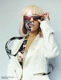 Cyberpunk Art, Future, Cyborg, Lady Gaga, goggles, female bot, futuristic, photoshop, girl in white, robot girl, cyborgaga