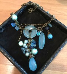$14.99 Beaded chandelier necklace - Blue