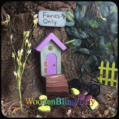 Opening Fairy Door, Fairy Garden, Miniature Door, Gifts for her, Housewarming, Birthday, Fairy Door, Green, Reclaimed wood, Purple, Doors by WoodenBLING on Etsy