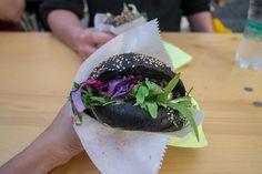 The black salmon burger